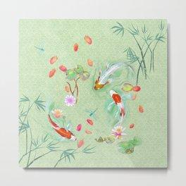 Watergarden with koi - green Metal Print