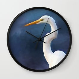 Painted Egret Wall Clock