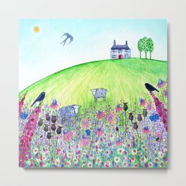 Summer Meadow, landscape painting Metal Print