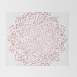 Earthy Rose Gold Blush - Unfolding Mandala Throw Blanket
