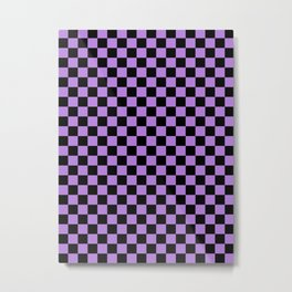 Black and Lavender Violet Checkerboard Metal Print