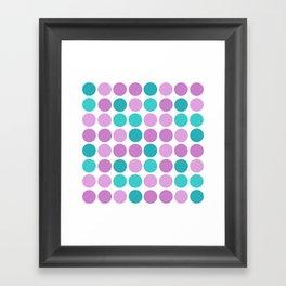 Pattern in pink blue polka dot. Framed Art Print