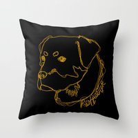 rottweiler Throw Pillows featuring Rottweiler #2 by Just Like A Breeze