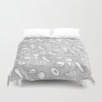 junk food Duvet Covers featuring Junk Food Print by Naomi Bell