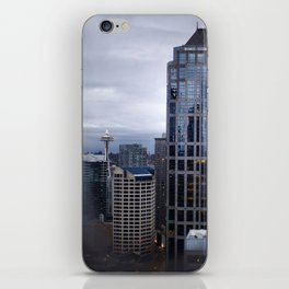 Seattle Skyline and Space Needle on a Cloudy Day iPhone Skin