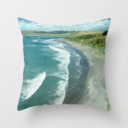 Raglan beach, New Zealand Throw Pillow