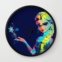 frozen elsa Wall Clocks featuring Elsa by lauramaahs