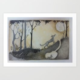 Fox, Moon and Rabbit Art Print