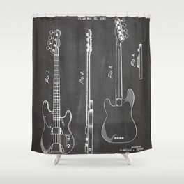 Bass Guitar Patent - Bass Guitarist Art - Black Chalkboard Shower Curtain
