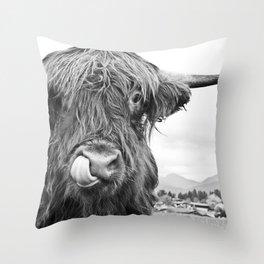 Cute Highland Cow Black & White #1 #wall #art #society6 Throw Pillow