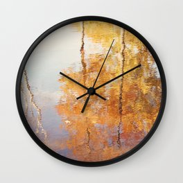 Autumn Trees Reflection Photography, Fall Tree Nature Orange Gold Yellow Purple, Water Reflections Wall Clock