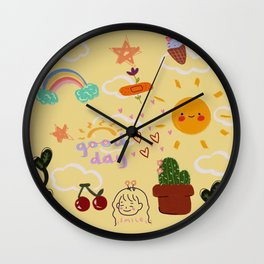summer doodles Wall Clock