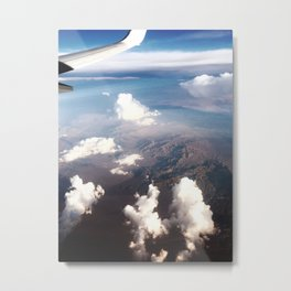 Plane, Clouds, and Mountains. Metal Print