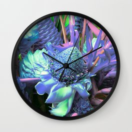 Candy-Colored Tropical Succulents Wall Clock
