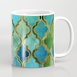 Moroccan Quatrafoil Pattern, Vintage Stained Glass, Blue, Green and Gold Coffee Mug