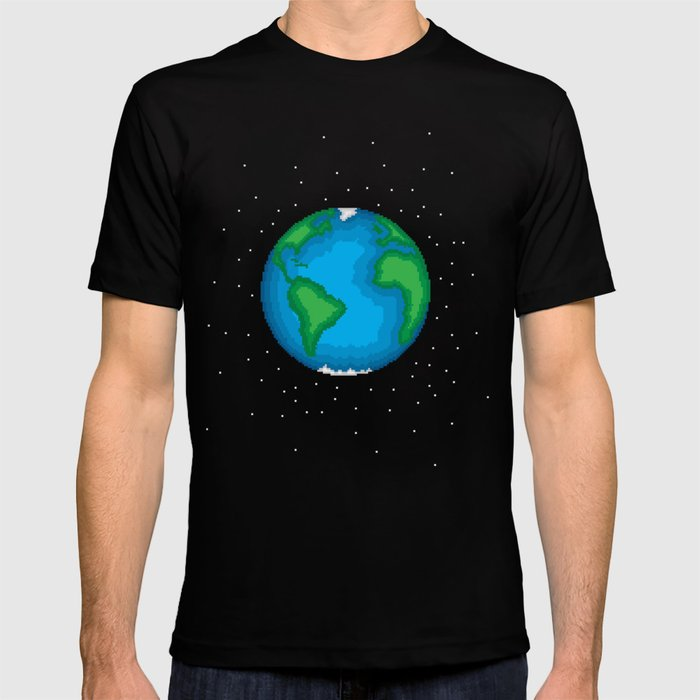 Pixel Earth T Shirt By Shlat Society6