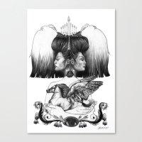 gemini Canvas Prints featuring Gemini by Deborah Panesar Illustration
