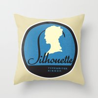 silhouette Throw Pillows featuring Silhouette by One Little Bird Studio