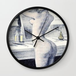 Hand colored Nude Boudoir Blond Blue Eyes Black Stockings Red Lips Wall Clock