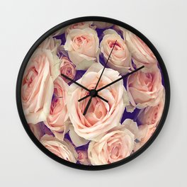 Pink Roses In A Bubble Wall Clock