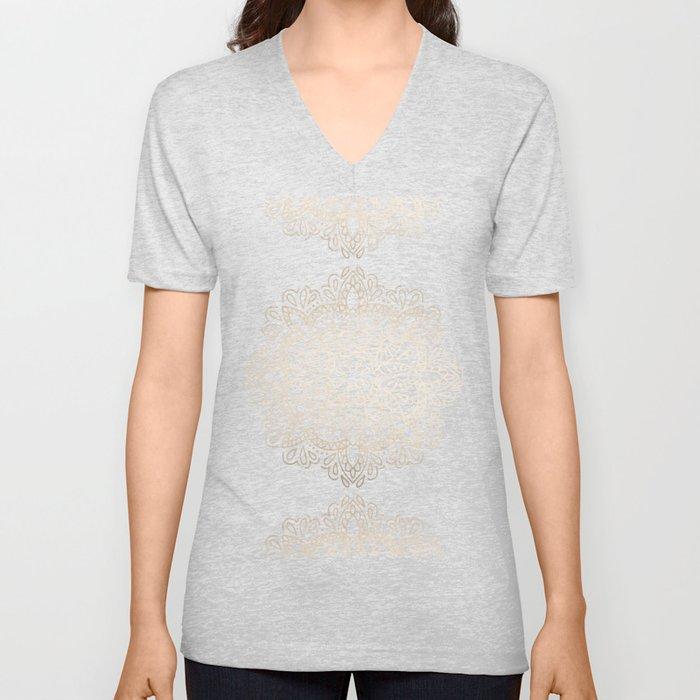 Mandala White Gold on Dark Gray Unisex V-Ausschnitt