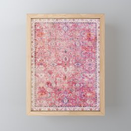 Pink Vintage Antique Oriental Traditional Moroccan Original Artwork Framed Mini Art Print