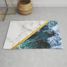 Wild Glamour - slicing marble, gold and ocean waves Rug