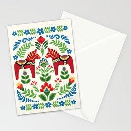 Swedish Dala Horses Red Stationery Cards