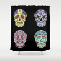 sugar skulls Shower Curtains featuring Sugar Skulls by katherinejago