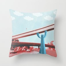 Supporting you and the city in every way he can. Throw Pillow