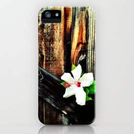 Old wood and a flower. iPhone Case