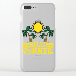 """""""Hello Summer"""" tee design. Makes a nice and cool gift this summer to your loved ones!  Clear iPhone Case"""