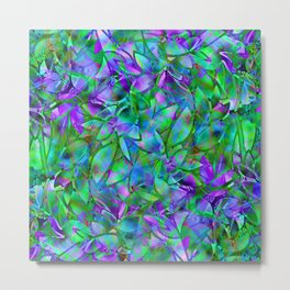 Floral Abstract Stained Glass G295 Metal Print
