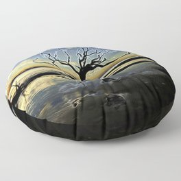 Driftwood Beach with Dead Tree with Digital-Modification Floor Pillow