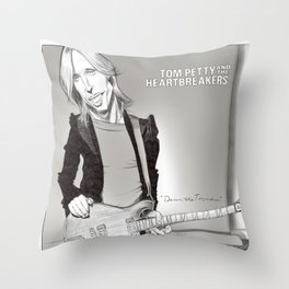 Tom Petty Caricature Throw Pillow