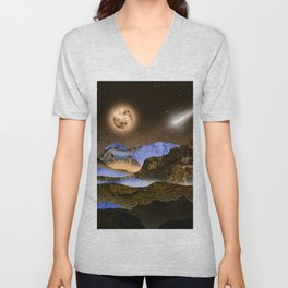 The Moon and the blue mountains Unisex V-Neck