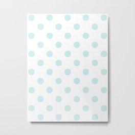 Polka Dots - Light Cyan on White Metal Print