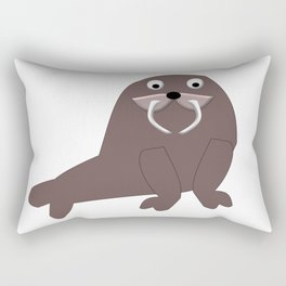Cute Friendly Walrus Digital Art Rectangular Pillow