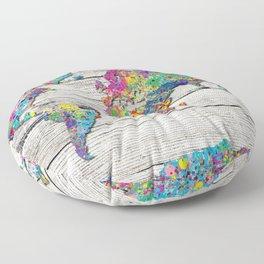 world map wood 4 Floor Pillow