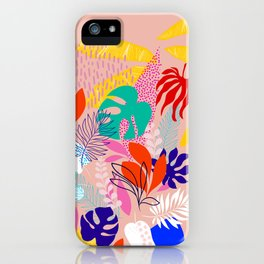 Keep Growing - Tropical plant on peach iPhone Case