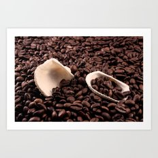 Mussels on coffee Art Print
