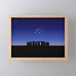 Stonehenge and Shooting Stars At Night Framed Mini Art Print