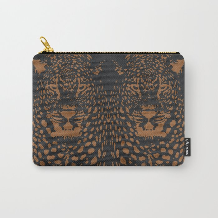Midnight Leopard - Navy and Orange Leopard print By Kristen Baker Carry-All Pouch