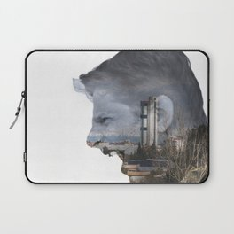 Angry shouting man face on cityscape Laptop Sleeve