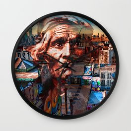 Ghost Tribe Native Americans in New York Red Wall Clock
