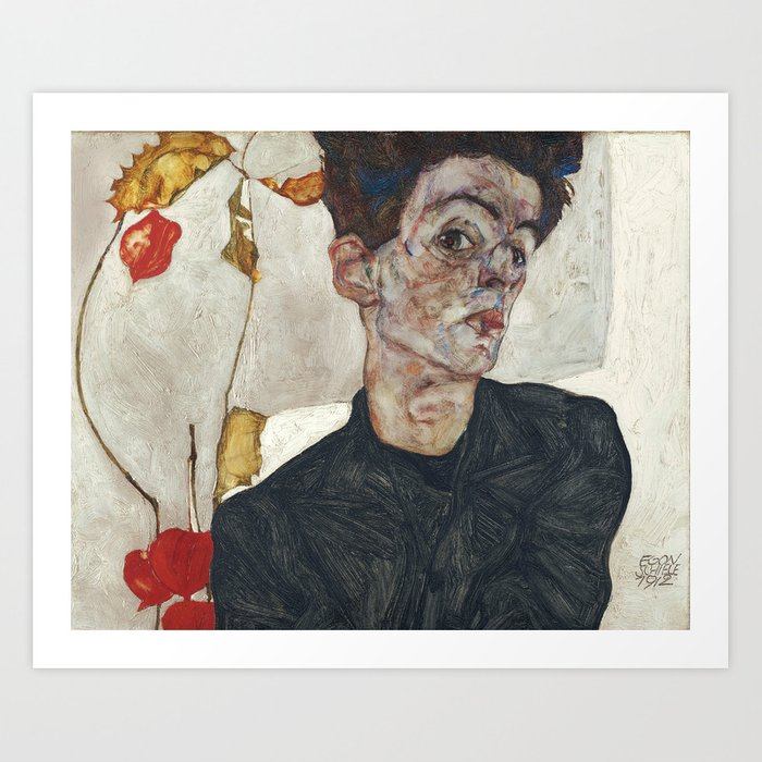Egon Schiele Self-Portrait with Physalis, 1912 Kunstdrucke