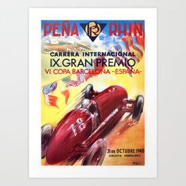 1948 Spain Grand Prix Racing Poster Art Print