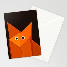 Dark Geometric Cute Origami Fox Stationery Cards