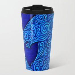 Blue Celtic Horse Abstract Spirals Travel Mug