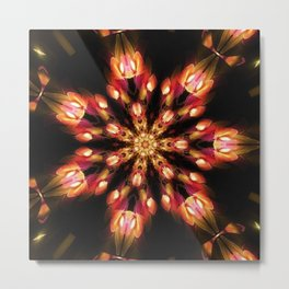 Warm Fire Snowflake Metal Print